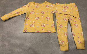 NEXT Baby Girls Age 1.5-2 Years Yellow Floral 2 Piece Pyjamas - Great Condition