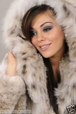 LUCYS BOUTIQUE FURNATIC FAUX FUR LYNX SNOW LEOPARD COAT HOOD TOWIE  8 10 LAST 1