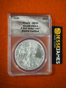 2020 $1 AMERICAN SILVER EAGLE ANACS MS70 FIRST STRIKE LABEL