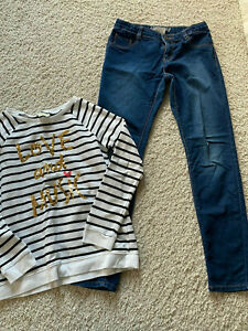 Crazy 8 By Gymboree stripe love and music glitter sequin top 10 12 jeggings pant