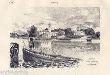 Hamburg-Außenalster-Fährhaus-Uhlenhorst - Holzstich 1880 Cloß-Bartels