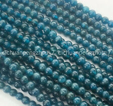 Natural 6mm Blue Ink Apatite Round Gemstone Loose Beads 15 inches