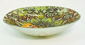 Turkish Delights Glass Serving Bowl Silver Bronze Green New