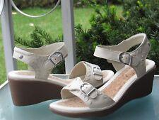Hush Puppies Ivory LEATHER Adjustable Straps Wedge Slingbacks Sandals, size 9