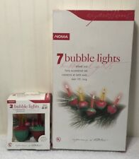 Noma Bubble Lights Vintage NOS 7 Light Strand + 2 Extra Bulbs Green Red Base