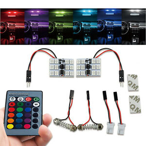 2x RC RGB LED Bulbs Panel 12-SMD 5050 Multi-Color Dome Light Map License Plate