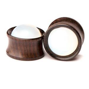 Opal Stone Double Flared Ebony Wood Saddle Plug Flesh Tunnel 6mm - 25mm