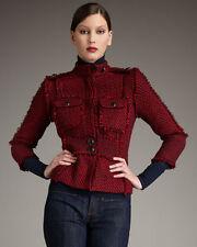 TORY BURCH Kington TWEED Berry Red / Navy FRINGE Wool Military Jacket Sz 2  $525