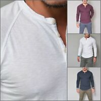 Stylish Men's Muscle T-shirt Long Sleeve V Neck Button Tee Tops Casual Shirts
