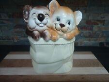 VINTAGE KOALA BEAR & LION CUB IN A PAPER BAG-COOKIE JAR-JAPAN