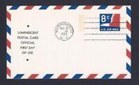 US UXC9a Official Air Mail Postal Card Tagged Luminescent Washington DC Tag eBay