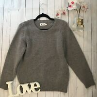 MIH L 14 16 grey chunky knitted dove patterned pure wool cosy thick winter VGC