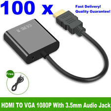 Wholesales! 100 x HDMI Male to VGA Female Converter Adapter + 3.5mm Audio 1080P