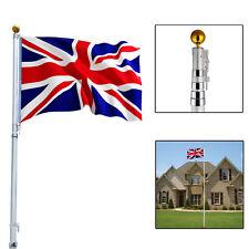 20Ft Aluminum Flag pole Telescopic Flagpole Kit Outdoor Gold Ball W/ 2 UK Flags