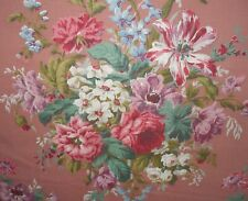 Antique Shabby Roses Floral Twill Cotton Fabric ~ Pink Green Lavender Blue Mauve