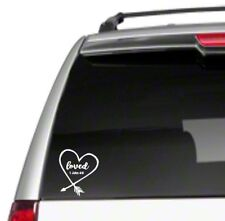 Loved Heart Car Sticker Decal God 1 John 4:9 bible verse gift great Jesus *D44*