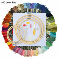 Full Embroidery Sewing Cross Stitch kit Threads W Hoop Ring Set Sewing Kits au