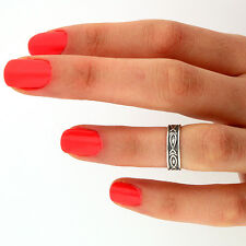 sterling silver Jesus fish Midi ring above Knuckle Ring Adjustable ring (T-22)