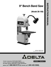"Delta 28-150 9"" Bench Band Saw Instruction Manual"