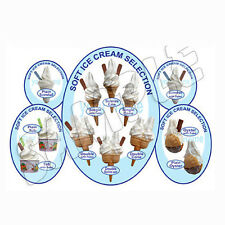 ice cream van sticker Oval 5 blue