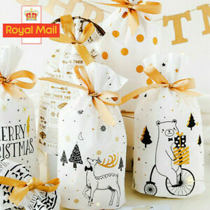 10-50pc Christmas Sacks Reusable Drawstring Wrap Present Gift Party Bags Storage