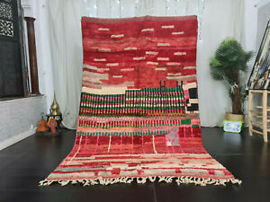 "Vintage Handmade Boujad Moroccan Rug 5'6""x8'8"" Abstract Red Wool Berber Carpet"