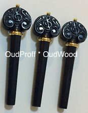 Pegs/Keys for Oud/Aoud/Ud: Carved Ebony مفاتيح عود: أبنوس حفر