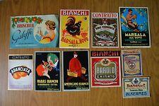 LOTTO 10 ETICHETTE PUBBLICITARIE VINO LIQUORE BIANCHI & C VERMOUTH ALKERMES