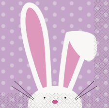 16 x Lilac Easter White Bunny Rabbit Paper Party Beverage Napkins Spring Easter