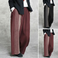 ZANZEA Womens Wide Leg Trousers Yoga Palazzo Casual Loose Long Pants Lounge Wear