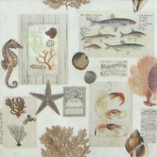 4x Paper Napkins - Sepia Sea - for Party, Decoupage Craft