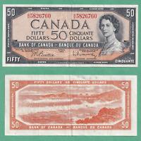 1954 $50 Bank of Canada Note Beattie Raminsky - EF+