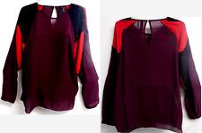 L.A.M.B. multi color sheer see through beaded trim detail silk top 12