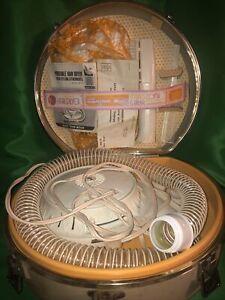 GE Deluxe Portable Soft Bonnet Hair Dryer in Hard Case Vintage Antique NIB WORKS