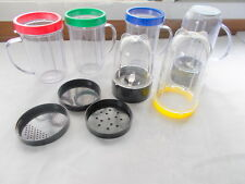 15 PC Magic Bullet Cups Tops Blade Replacements Blender Food Processor Storage +