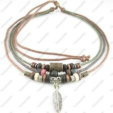 Adjustable Tribal Hemp Beads Beaded Necklace Choker Mens Womens Feather