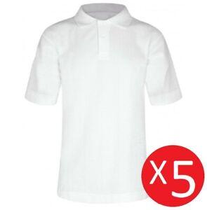 5 Pack Boys Teflon™ School Polo Shirts - Off-White Age 3-16 100% Cotton Uniform