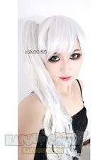 RWBY white Weiss Schnee white blue cosplay wig with curly ponytail. lolita wig
