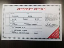 Danbury Mint Paperwork 1968 Dodge Charger Hardtop LE