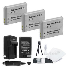 3x NB-6L NB-6LH Battery + Charger for Canon PowerShot SD4000 SX500 SX260 SX270