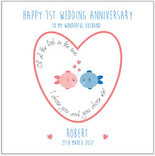 Personalised 1ST first Wedding Anniversary Card Husband Wife