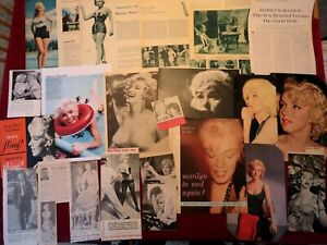 Marilyn Monroe Newspaper and Magazine Clippings from the Time.