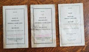 (3) Vintage Michigan General Game Laws Digest Dept. of Cons. HUNTING 1931-32-33