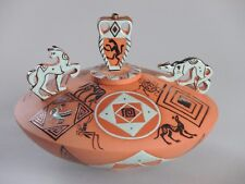 Mariko Swisher contemporary ceramist, figurative, sculpted guard dogs bowl, lid