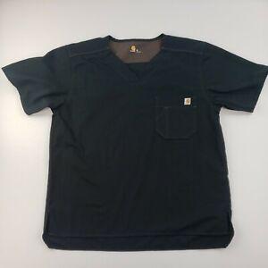 Men's Carhartt V Neck Scrub Top Black Size Medium Shirt #2