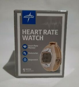 Medline Heart Rate Monitor Watch Pedometer Stopwatch Date Time Alarm Slim Design