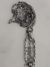"""Vintage Egyptian Silver Hieroglyph Pendant & 16.5"""" chain 6.9g """"Jessica"""" h,marked"""