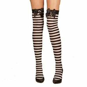 Elegant Moments Sexy Striped Thigh Highs with Bow and Handcuff Accents