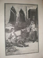 Sweet Summer Time Davidson Knowles 1885 old print fishing quay scene