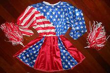NEW/PKG CHEERLEADER COSTUME SATIN poms MEDIUM CHILD Miss America Stars Stripes